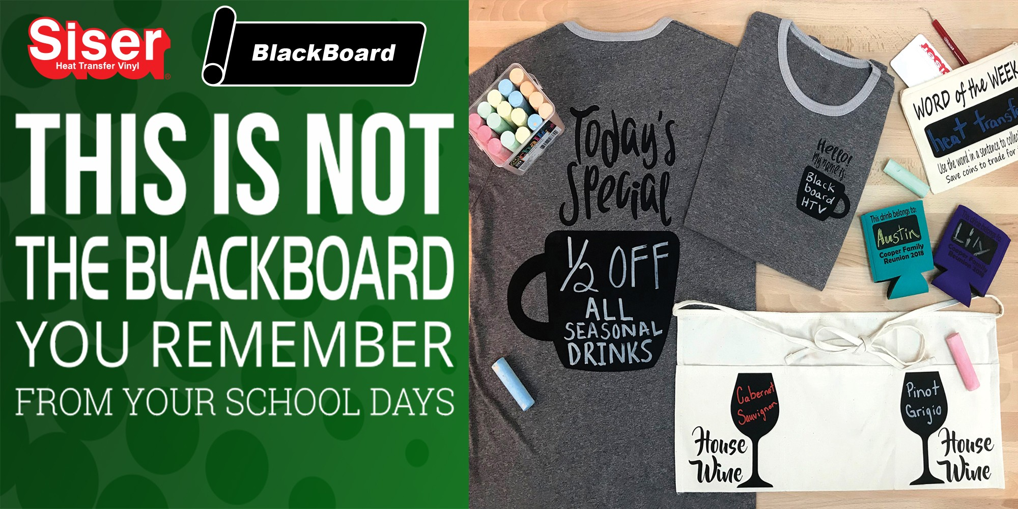 BlackBoard™ Heat Transfer Vinyl Write it, Wipe it, Repeat!